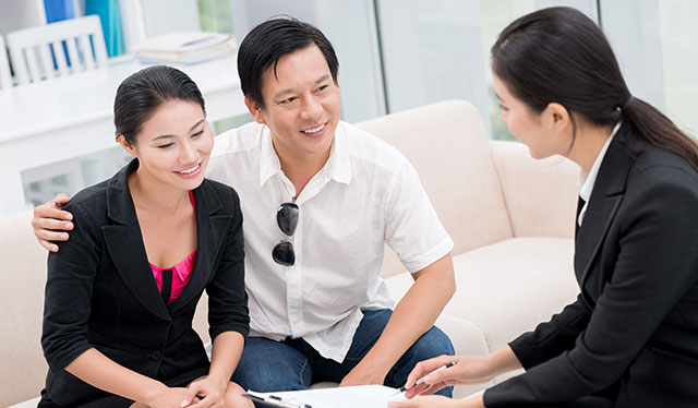 Realtor meeting with clients